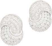 TOVA for Diamonique Swirl Design Button Earrings Sterling Silver - J356778