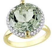 14K 9.60 ct Green Quartz & 1/4 cttw Diamond C ocktail Ring - J377178