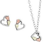 Black Hills Heart Pendant & Earrings Set Sterling, 12K - J379578