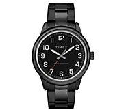 Timex Mens New England Black Stainless AnalogWatch - J380578