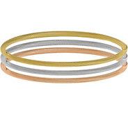 Italian Gold Set of 3 Tri-Colored Bangles 14K,10.6g - J381578