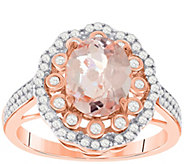 Sterling 2.00 cttw Morganite & White Zircon Ring - J392178
