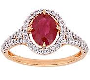 14K Gold 1.40 cttw Ruby & 1/3 cttw Diamond HaloRing - J392278