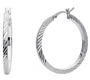 Sterling 1-1/4 Diamond-Cut Hoop Earrings - J392378