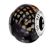 Prerogatives Brown Python Glitter Italian Murano Glass Bead - J300279