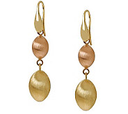 Arte dOro Two-tone Satin Bead Dangle Earrings,18K Gold - J304879