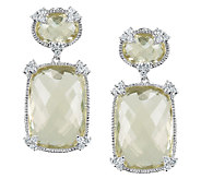 Judith Ripka Sterling Lemon Quartz & DiamoniqueDrop Earrings - J336379