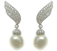 Judith Ripka Sterling & Cultured Pearl Ear Climbers - J343579