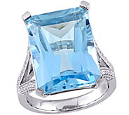 18 ct Sky Blue Topaz & 1/2 cttw Diamond Ring, 14K White Gold - J344079