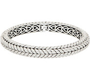 JAI Sterling Silver Basketweave Hinged Bangle, 34.0g - J354079