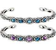 Carolyn Pollack Set of 2 Sterling Silver Simply Fabulous Gemstone Cuffs - J357979