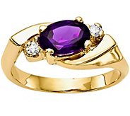 14K Oval Gemstone & Diamond Accent Ring - J374979