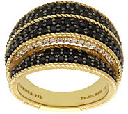 Judith Ripka 14K Clad Black Spinel & DiamoniquePave Ring - J384079