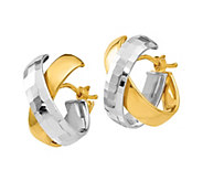 Italian Gold Two-Tone X Hoop Earrings, 14K - J385679