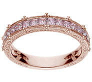 Judith Ripka 14K Clad Pink Diamonique Channel-Set Band Ring - J386979