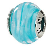 Prerogatives Sterling Blue Swirl Italian MuranoGlass Bead - J111580