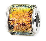 Prerogatives Sterling Orange/Yellow Dichroic Glass Square Bead - J113380