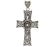 Artisan Crafted Sterling Telkari Filigree Cross Pendant - J270080
