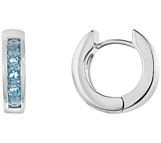 Sterling Hoop Earrings with Choice of Gemstone