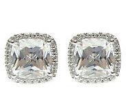 Judith Ripka Sterling Diamonique Cushion Halo Earrings - J313480