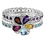 Simply Stacks Sterling Multi-Gemstone Ring Set - J314580