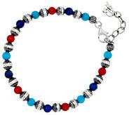 American West Sterling Silver &Multi-Gemstone Bead Bracelet - J330480