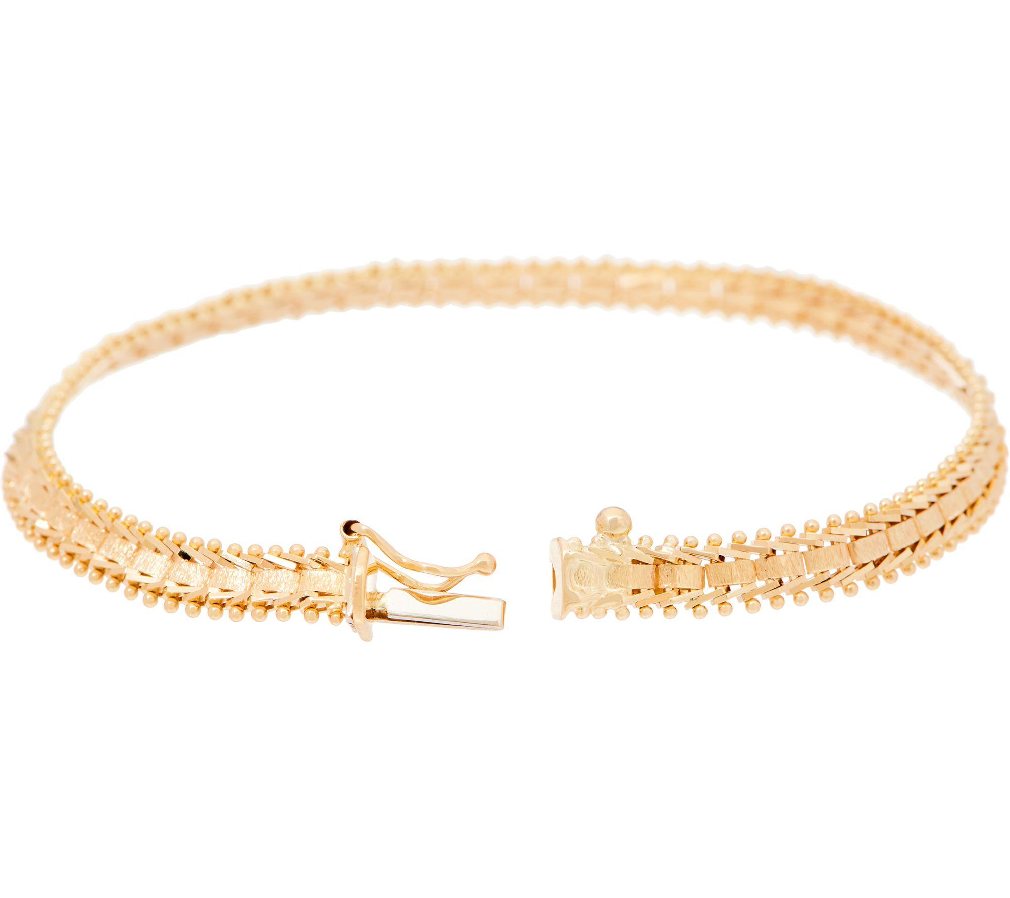 Imperial Gold 7 1 4 Satin Sheen Bracelet 14k 8 0g Page Qvc