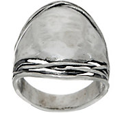 Or Paz Sterling Hammered Saddle Ring - J351380