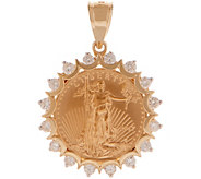 As Is 14K/22K Gold Liberty Coin and Diamond Pendant 5/8 ct - J357680