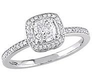 Affinity 14K Gold 3/4 cttw Cushion-Cut DiamondHalo Ring - J381380