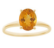 14K Gold Oval Solitaire Gemstone Ring - J382580