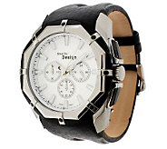 Stainless Steel Octagon Dial Leather Strap Watch - J300581