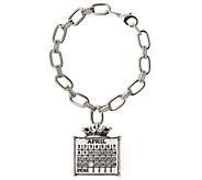 Silvertone Personalized Calendar Crown Charm Bracelet - J337981