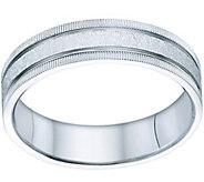 14K Gold 6mm Comfort Fit Wedding Band w/ Grooveand Milgrain - J341281
