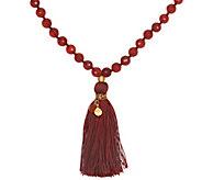Satya Mala Gemstone Tassel Necklace, Goldtone Brass - J342781
