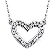 Diamonique 4/10 cttw Open Heart 18 Necklace, Sterling - J343781