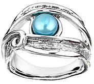 Hagit Sterling Openwork Cultured Freshwater Pearl Ring - J345081