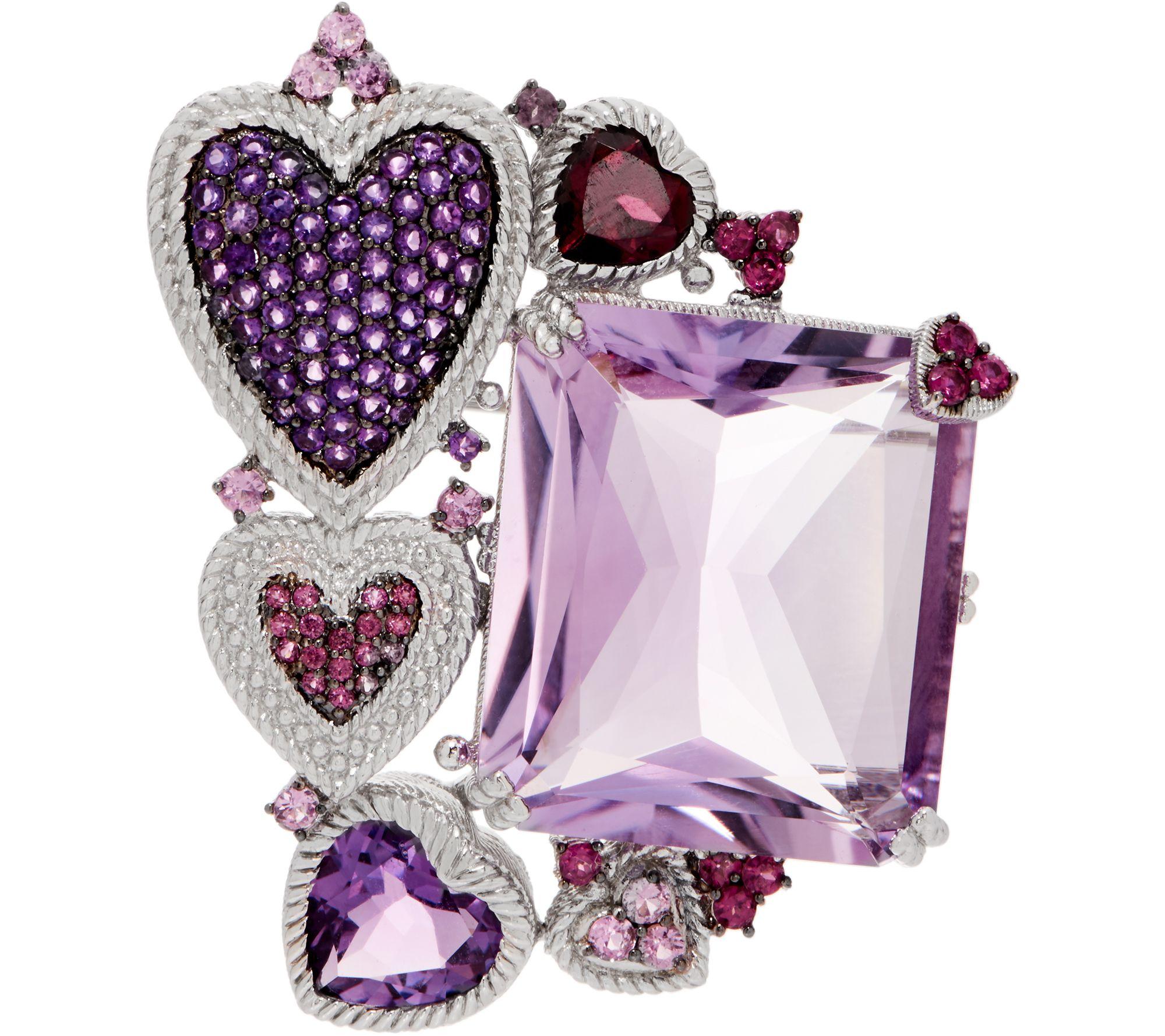 9775f1068d21b Judith Ripka Sterling Silver 41.45 cttw Gemstone Heart Pin/Enhancer —  QVC.com