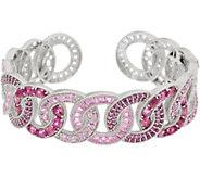 Judith Ripka Sterling 6.00 cttw Gemstone & Diamonique Cuff Bracelet - J352281