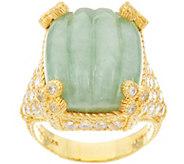 As Is Judith Ripka Sterling & 14K Clad Carved Jade Monaco Ring - J358481