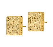 Italian Gold Square Textured Post Earrings, 14K - J385681