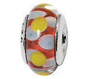 Prerogatives Sterling Yellow and Light Blue onRed Glass Bead - J108882