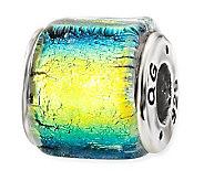 Prerogatives Sterling Yellow & Blue Dichroic Glass Square Bead - J113382