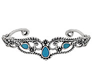 American West Sleeping Beauty Turquoise Sterling Leaf Designed Cuff - J296282