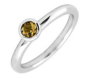 Simply Stacks Sterling 4mm Round Citrine Solitaire Ring - J298782