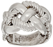 As Is Italian Silver Polished & Textured Braid Design Ring - J323782