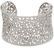 Stainless Steel High Polished Pebble Design Cut-Out Cuff Bracelet - J335382