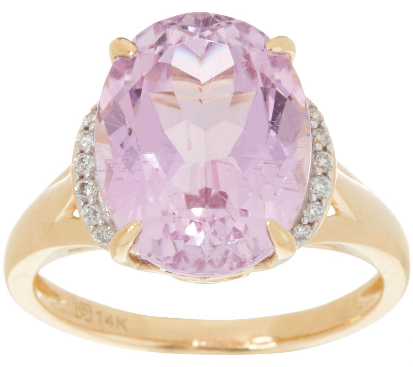 Oval Kunzite & Diamond Ring 14K Gold 5.70 ct - Page 1 — QVC.com