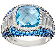 As Is Judith Ripka Sterling Blue Topaz & Pave Ring - J350382