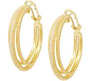 Judith Ripka 14K Clad Diamonique Triple Hoop Earrings - J355082
